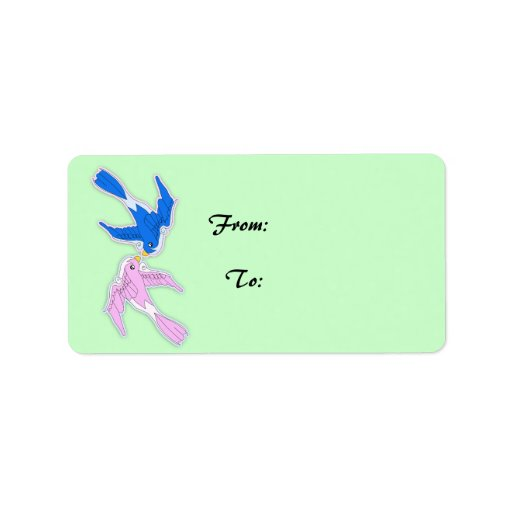 Kissing Swallows Gift Tag Address Label