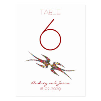 Kissing Swallows Spring Flowers Table Number Card