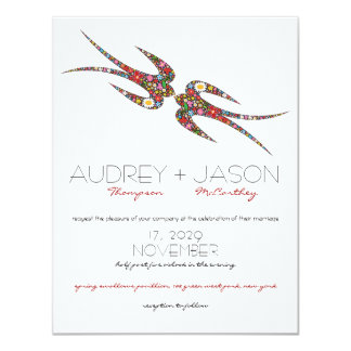 Kissing Swallows Spring Flowers Wedding Invite Personalized Invite