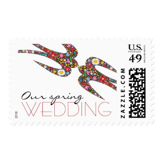 Kissing Swallows Spring Flowers Wedding Stamps
