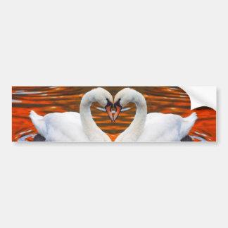 Kissing Swans in Love, Heart Shape Necks Bumper Stickers