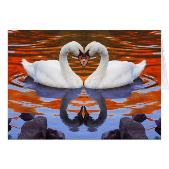 Kissing Swans in Love, Heart Shape Necks Card