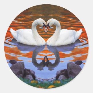 Kissing Swans in Love, Heart Shape Necks Classic Round Sticker