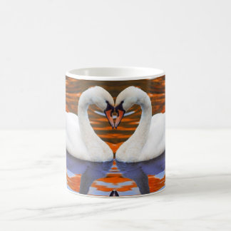 Kissing Swans in Love, Heart Shape Necks Coffee Mug