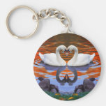 Kissing Swans in Love, Heart Shape Necks Basic Round Button Keychain