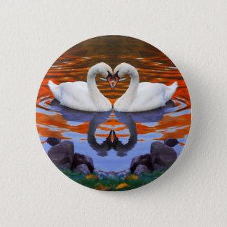 Kissing Swans in Love, Heart Shape Necks Pinback Button