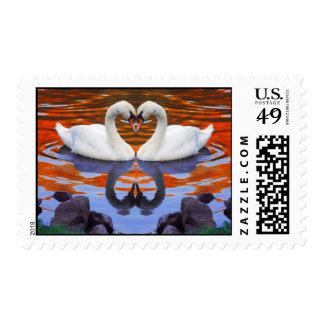 Kissing Swans in Love, Heart Shape Necks Postage