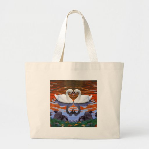 Kissing Swans in Love, Heart Shape Necks Tote Bag