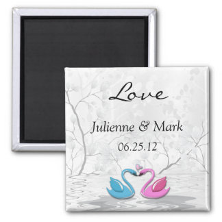 Kissing Swans Wedding Magnet