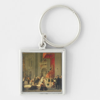 Kissing the Feet Silver-Colored Square Keychain