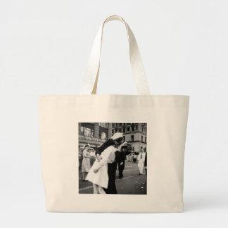 Kissing the War Goodbye at Times Square Large Tote Bag