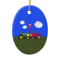 Kissing tractors Christmas Ornament