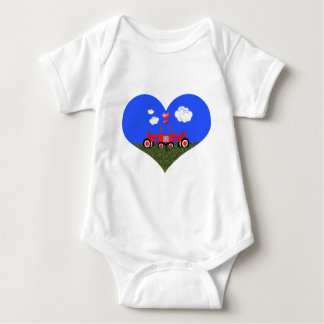 Kissing Tractors under Hearts Baby Bodysuit