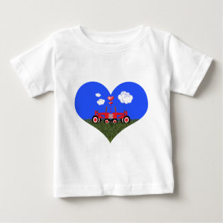 Kissing Tractors under Hearts Baby T-Shirt