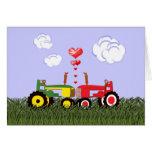 Kissing Tractors under Hearts Card