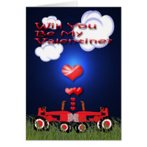 Kissing Tractors under Hearts Card