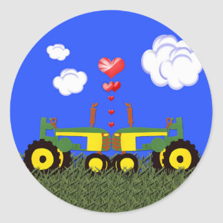 Kissing Tractors under Hearts Classic Round Sticker