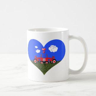 Kissing Tractors under Hearts Coffee Mug