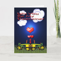 Kissing Tractors under Hearts Holiday Card