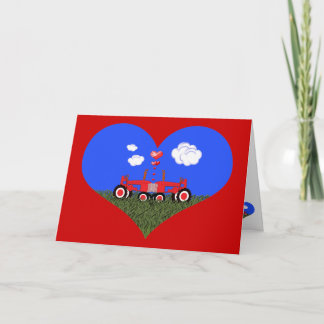 Kissing Tractors under Hearts Holiday Card