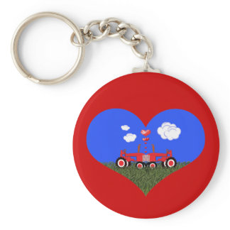 Kissing Tractors under Hearts Keychain