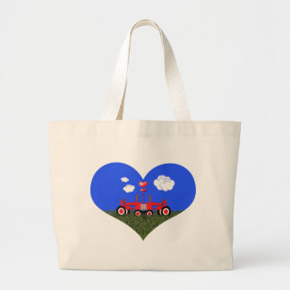 Kissing Tractors under Hearts Large Tote Bag