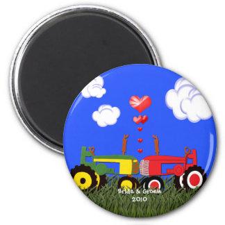Kissing Tractors under Hearts Magnet