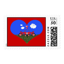 Kissing Tractors under Hearts Postage
