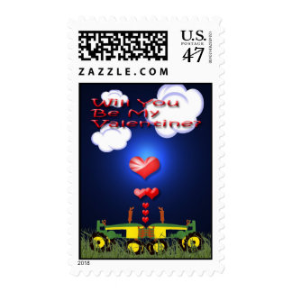 Kissing Tractors under Hearts Postage Stamp