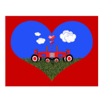 Kissing Tractors under Hearts Postcard