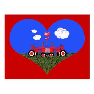Kissing Tractors under Hearts Postcard