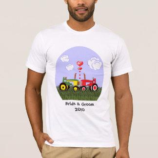 Kissing Tractors under Hearts T-Shirt