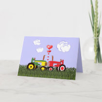 Kissing Tractors under Hearts Thank You Card