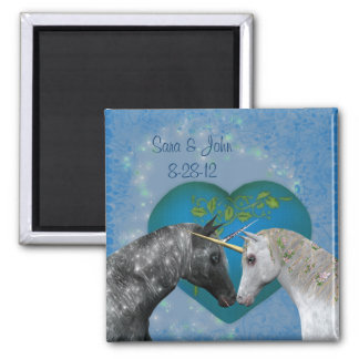 Kissing Unicorns Cute Wedding Favor Magnet