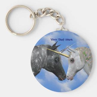 Kissing Unicorns Fantasy Keychain