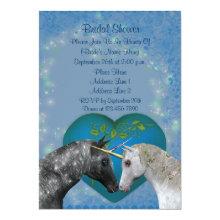 Kissing Unicorns Heart Bridal Shower Invite