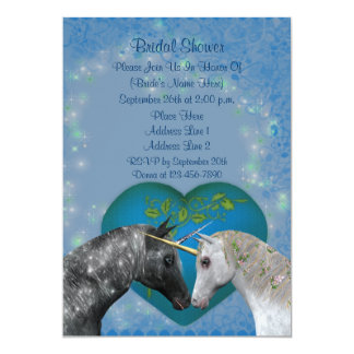 Kissing Unicorns Heart Bridal Shower Invite