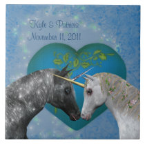 Kissing Unicorns Heart Cute Wedding Tile