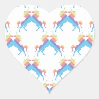 Kissing Unicorns Heart Sticker