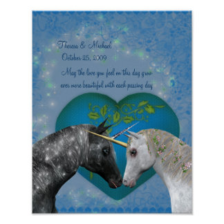 Kissing Unicorns Heart Wedding Anniversary Poster