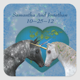Kissing Unicorns Heart Wedding Sticker