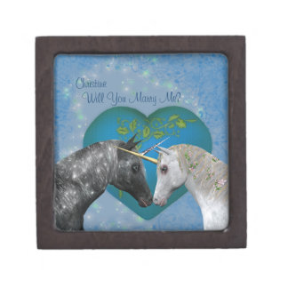 Kissing Unicorns Marry Me Engagement Ring Box Premium Gift Boxes