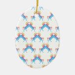 Kissing Unicorns Double-Sided Oval Ceramic Christmas Ornament