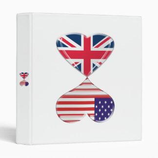 Kissing USA and UK flag heart Binder