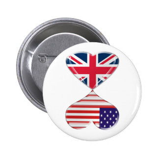 Kissing USA and UK Hearts Flags Art Buttons