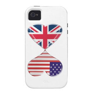 Kissing USA and UK Hearts Flags Art iPhone 4 Cover