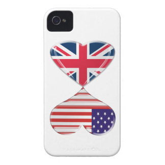 Kissing USA and UK Hearts Flags Art Case-Mate iPhone 4 Cases