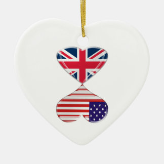 Kissing USA and UK Hearts Flags Art Ceramic Ornament
