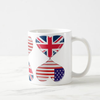 Kissing USA and UK Hearts Flags Art Coffee Mug