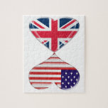 Kissing USA and UK Hearts Flags Art Jigsaw Puzzles